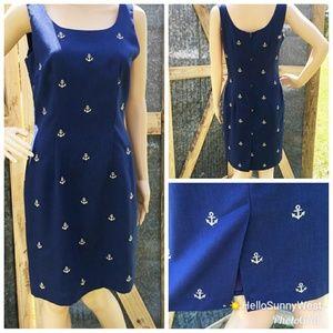 Vintage Misty Lane 7/8 Anchor Sailor Navy Dress